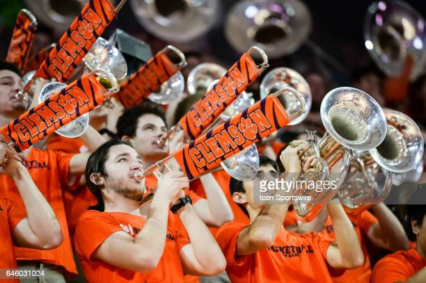 The Clemson band prior to 1st half action between the Clemson Tigers and the Florida State Seminoles on February 25 2017 at Littlejohn Coliseum in...