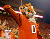 The Clemson Tiger mascot cheers on with fans during the game against the North Carolina Tar Heels at Memorial Stadium on September 27 2014 in Clemson...