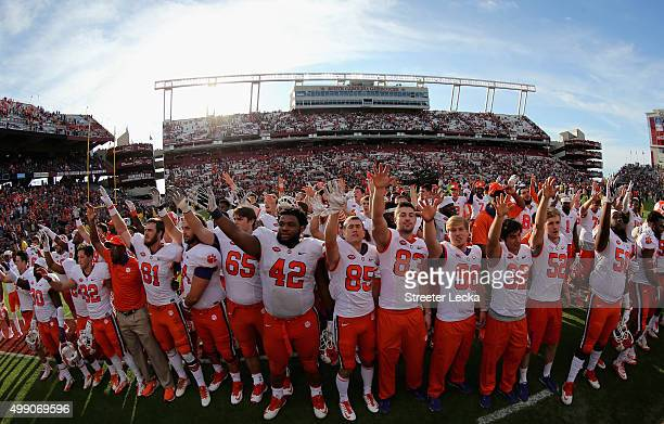 The Clemson Tigers celebrate after defeating the South Carolina Gamecocks 3732 at WilliamsBrice Stadium on November 28 2015 in Columbia South Carolina