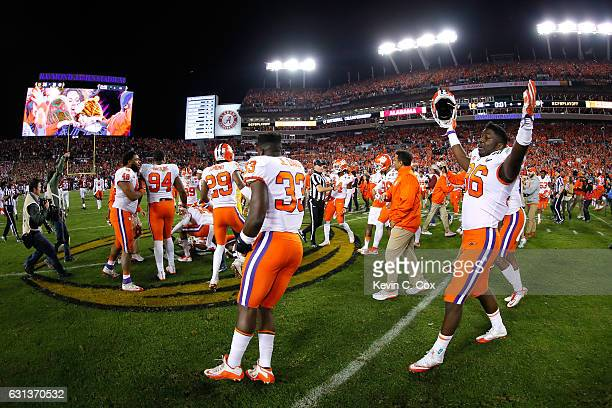 The Clemson Tigers celebrate defeating the Alabama Crimson Tide 3531 in the 2017 College Football Playoff National Championship Game at Raymond James...