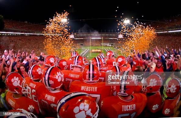 The Clemson Tigers enter the stadium before their game against the Florida State Seminoles at Memorial Stadium on October 19 2013 in Clemson South...
