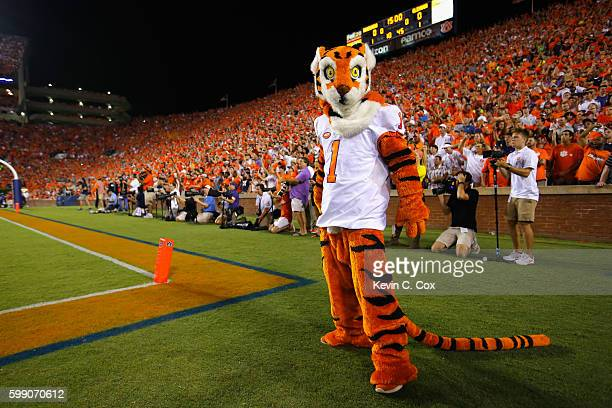 The Clemson Tigers mascot looks on prior to the game between the Auburn Tigers and the Clemson Tigers at Jordan Hare Stadium on September 3 2016 in...