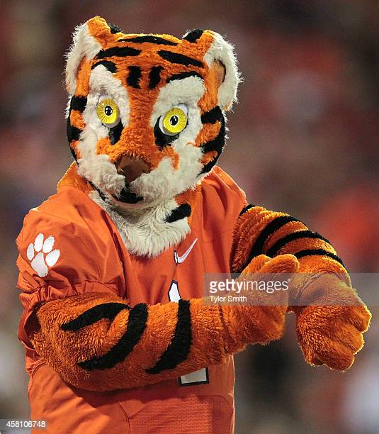 The Clemson Tigers mascot motions to fans during the game against the Syracuse Orange at Memorial Stadium on October 25 2014 in Clemson South Carolina