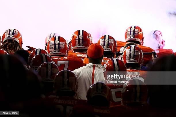 The Clemson Tigers prepare to take the field prior to the 2016 College Football Playoff National Championship Game against the Alabama Crimson Tide...