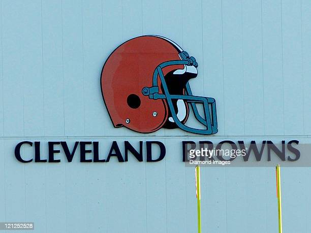The Cleveland Browns helmet logo is shown on the side of the Cleveland Browns Training Facility during a training camp practice on August 16 2011 in...