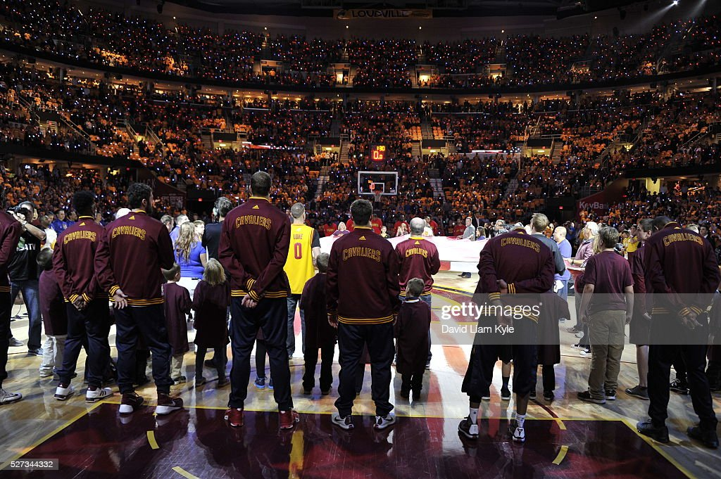 The Cleveland Cavaliers are seen before the game against the Atlanta Hawks in Game One of the Eastern Conference Semifinals of the 2016 NBA Playoffs on May 2, 2016 at The Quicken Loans Arena in Cleveland, Ohio.