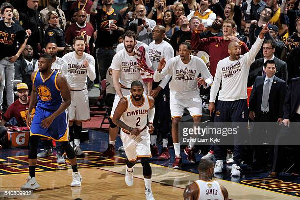 The Cleveland Cavaliers bench celebrates a good play against the Golden State Warriors in Game Six of the 2016 NBA Finals on June 16 2016 at The...