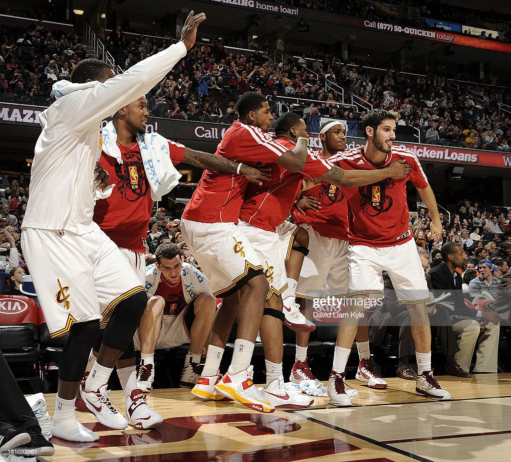 The Cleveland Cavaliers bench erupts after a dunk in the game against the Orlando Magic at The Quicken Loans Arena on February 8, 2013 in Cleveland, Ohio.