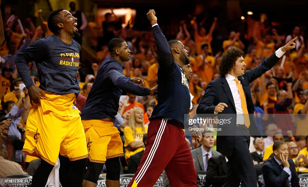 The Cleveland Cavaliers bench reacts in the fourth quarter against the Atlanta Hawks during Game Four of the Eastern Conference Finals of the 2015 NBA Playoffs at Quicken Loans Arena on May 26, 2015 in Cleveland, Ohio.