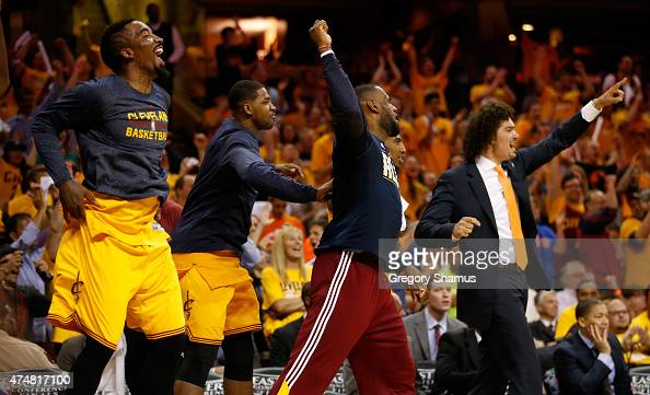 The Cleveland Cavaliers bench reacts in the fourth quarter against the Atlanta Hawks during Game Four of the Eastern Conference Finals of the 2015...