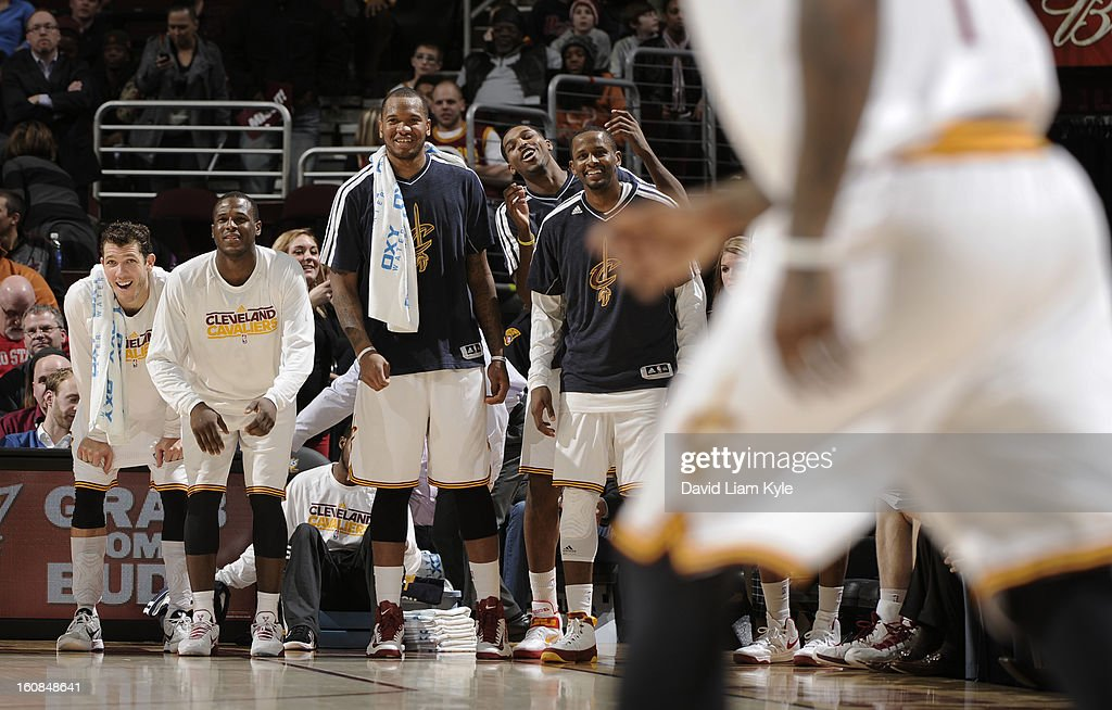 The Cleveland Cavaliers bench reacts to a three pointer by <a gi-track='captionPersonalityLinkClicked' href=/galleries/search?phrase=Kyrie+Irving&family=editorial&specificpeople=6893971 ng-click='$event.stopPropagation()'>Kyrie Irving</a> #2 against the Charlotte Bobcats at The Quicken Loans Arena on February 6, 2013 in Cleveland, Ohio.