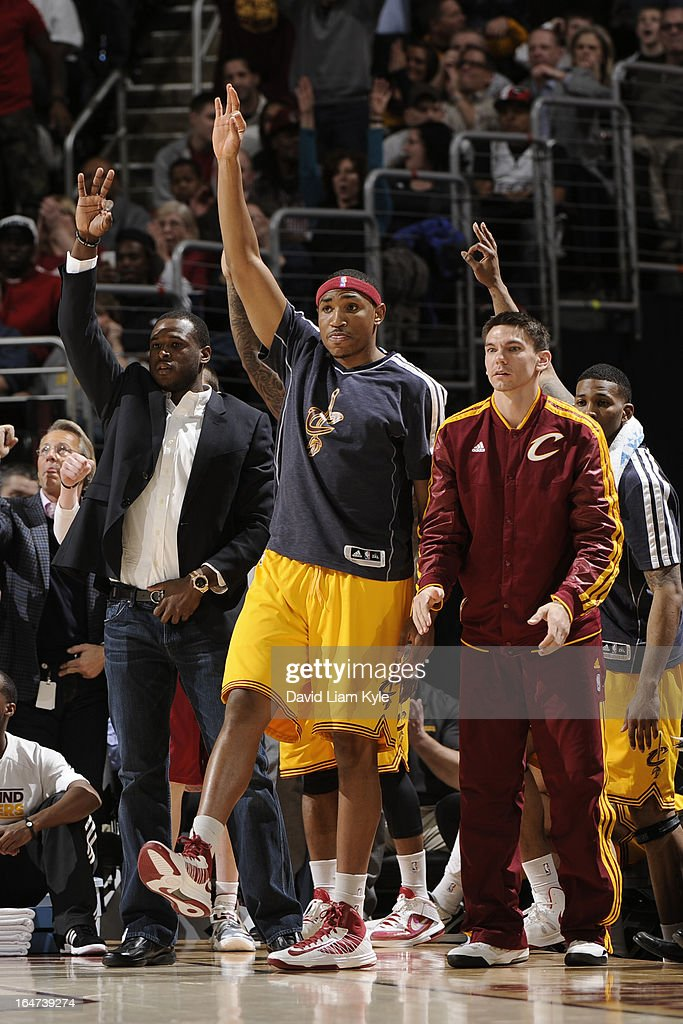The Cleveland Cavaliers bench stands up during the game against the Miami Heat at The Quicken Loans Arena on March 20, 2013 in Cleveland, Ohio.