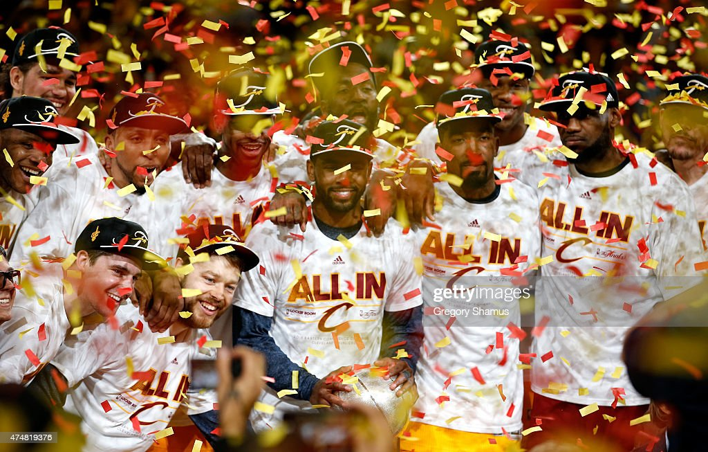 The Cleveland Cavaliers celebrate after defeating the Atlanta Hawks during Game Four of the Eastern Conference Finals of the 2015 NBA Playoffs at Quicken Loans Arena on May 26, 2015 in Cleveland, Ohio.