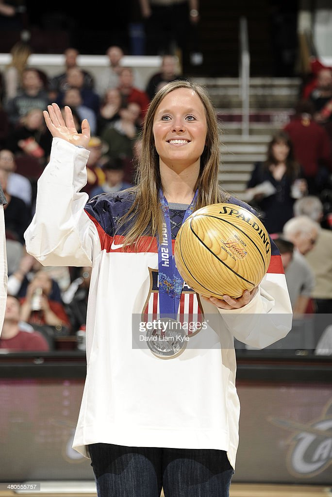 The Cleveland Cavaliers celebrate Women's History Month by honoring <a gi-track='captionPersonalityLinkClicked' href=/galleries/search?phrase=Kelli+Stack&family=editorial&specificpeople=6214354 ng-click='$event.stopPropagation()'>Kelli Stack</a> of the 2014 silver medal winning U.S. Olympic Women's team during halftime of the game against the Toronto Raptors at The Quicken Loans Arena on March 25, 2014 in Cleveland, Ohio.