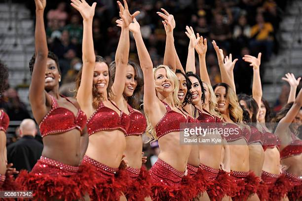 The Cleveland Cavaliers dance team is seen during the game against the Boston Celtics on February 5 2016 at Quicken Loans Arena in Cleveland Ohio...