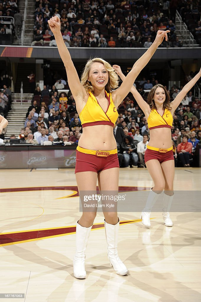 The Cleveland Cavaliers dance team perform during the game against the Brooklyn Nets at The Quicken Loans Arena on April 3, 2013 in Cleveland, Ohio.