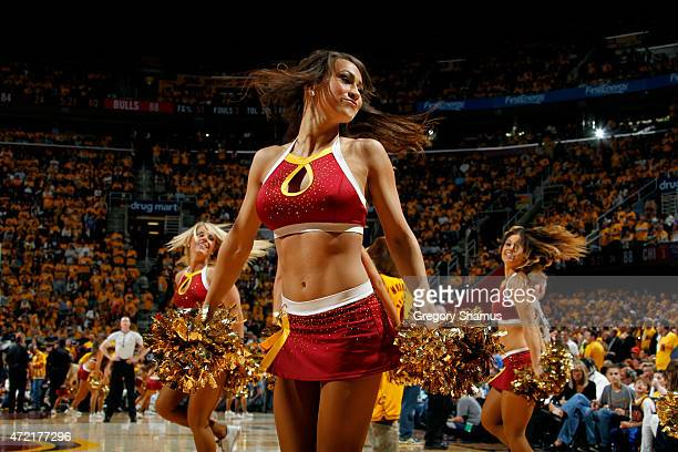 The Cleveland Cavaliers dance team performs during a game against the Chicago Bulls in Game One of the Eastern Conference Semifinals of the NBA...