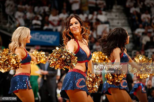 The Cleveland Cavaliers dance team performs during the game against the Boston Celtics during Game One of the Eastern Conference Quarterfinals of the...