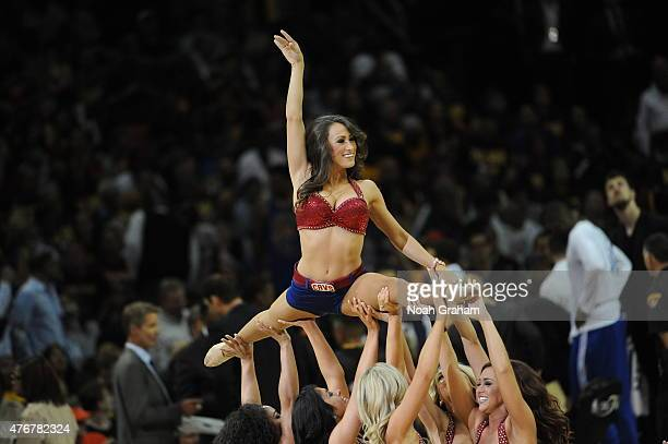 The Cleveland Cavaliers dance team performs during the game against the Golden State Warriors in Game Four of the 2015 NBA Finals at The Quicken...
