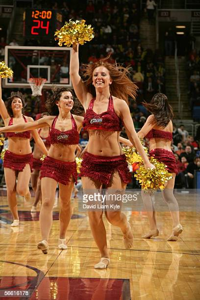 The Cleveland Cavaliers Girls perform during an intermission in the game against the Utah Jazz at Gund Arena on December 20 2005 in Cleveland Ohio...
