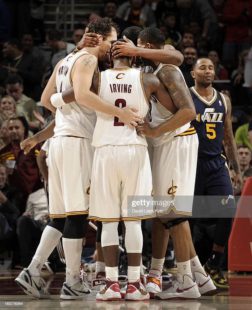 The Cleveland Cavaliers huddle around Kyrie Irving #2 late in the game after he made a basket but was fouled against the Utah Jazz at The Quicken Loans Arena on March 6, 2013 in Cleveland, Ohio.