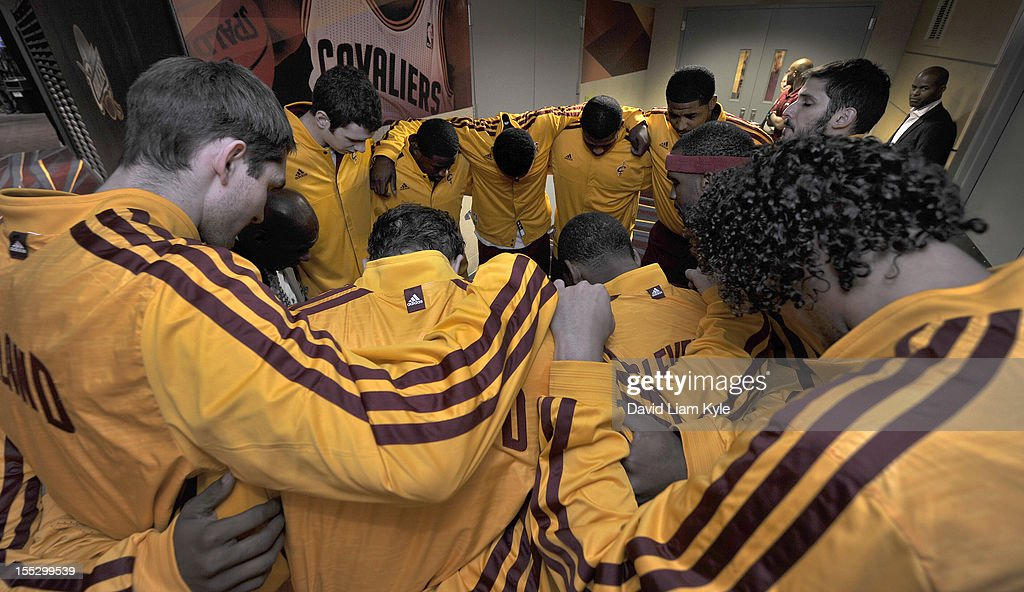The Cleveland Cavaliers huddle together before taking the court to face the Chicago Bulls at The Quicken Loans Arena on November 2, 2012 in Cleveland, Ohio.