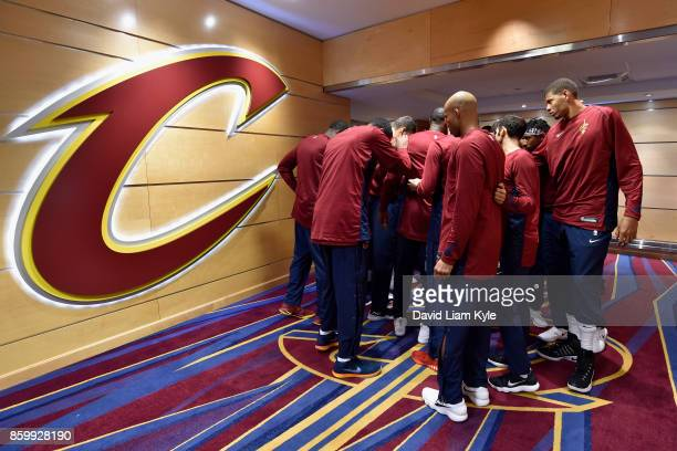 The Cleveland Cavaliers huddle up before the game against the Chicago Bulls on October 10 2017 at Quicken Loans Arena in Cleveland Ohio NOTE TO USER...