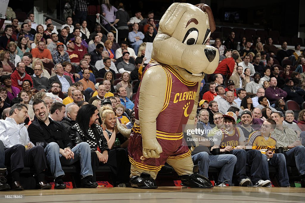 The Cleveland Cavaliers mascot Moondog entertains the fans during a break in the action against the Utah Jazz at The Quicken Loans Arena on March 6, 2013 in Cleveland, Ohio.