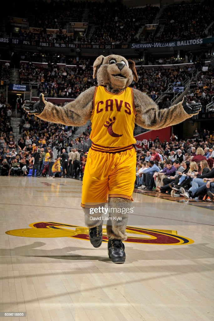 The Cleveland Cavaliers mascot performs during a game against the Washington Wizards on March 25, 2017 at Quicken Loans Arena in Cleveland, Ohio.
