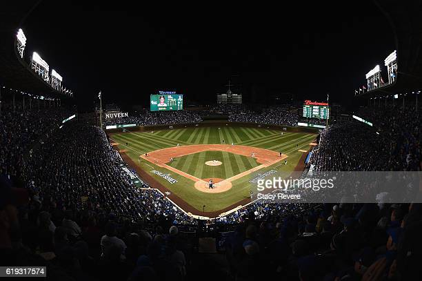 The Cleveland Indians and Chicago Cubs play in Game Five of the 2016 World Series at Wrigley Field on October 30 2016 in Chicago Illinois