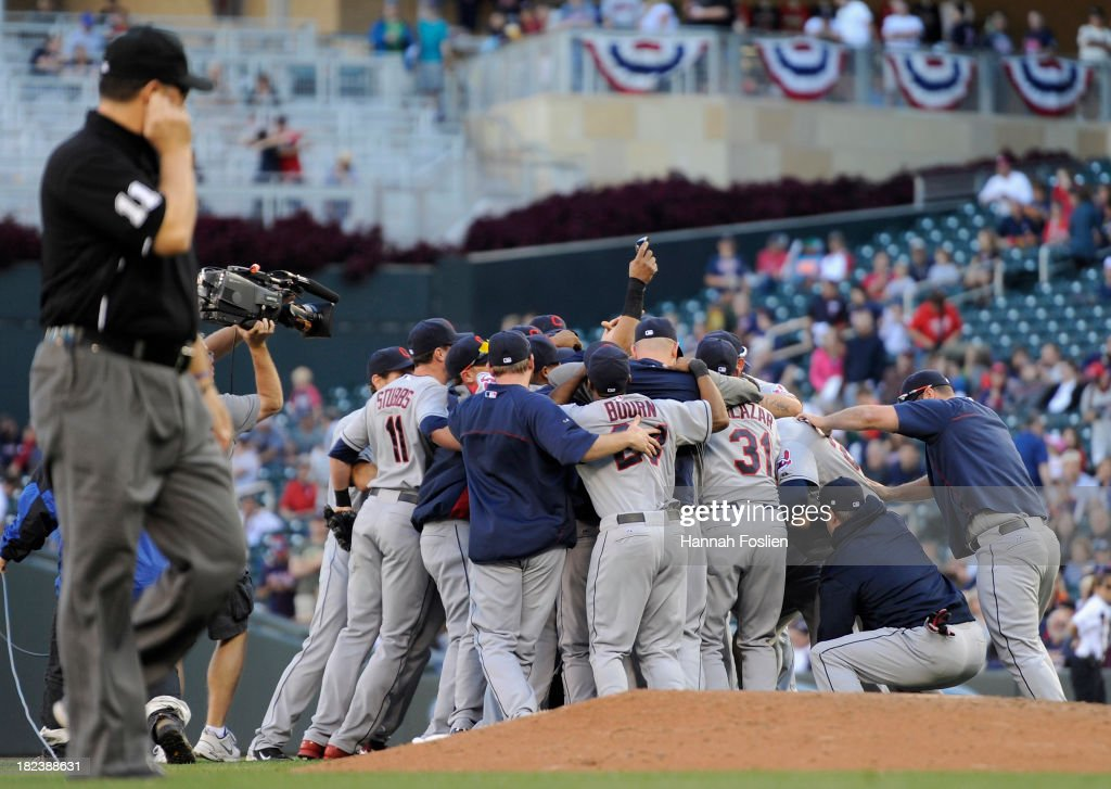 The Cleveland Indians celebrate a win of the game against the Minnesota Twins on September 29, 2013 at Target Field in Minneapolis, Minnesota. The Indians defeated the Twins 5-1 and clinched a American League Wild Card berth.