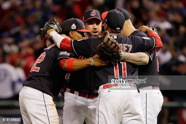 The Cleveland Indians celebrate after defeating the Chicago Cubs 60 in Game One of the 2016 World Series at Progressive Field on October 25 2016 in...