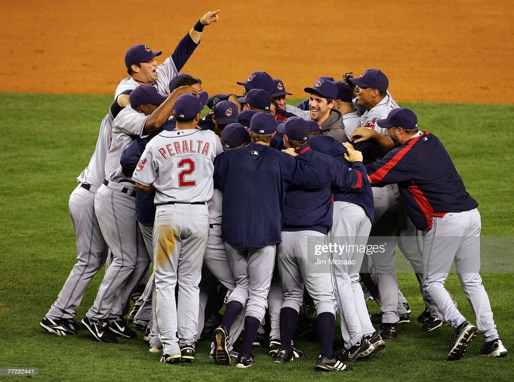 The Cleveland Indians celebrate after defeating the New York Yankees by the score of 64 to win the American League Division Series in four games at...