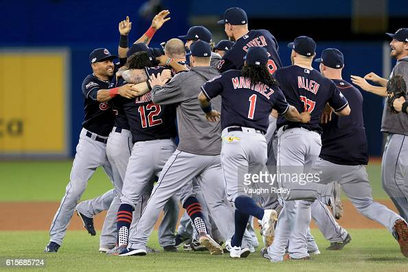 The Cleveland Indians celebrate after defeating the Toronto Blue Jays with a score of 3 to 0 in game five of the American League Championship Series...
