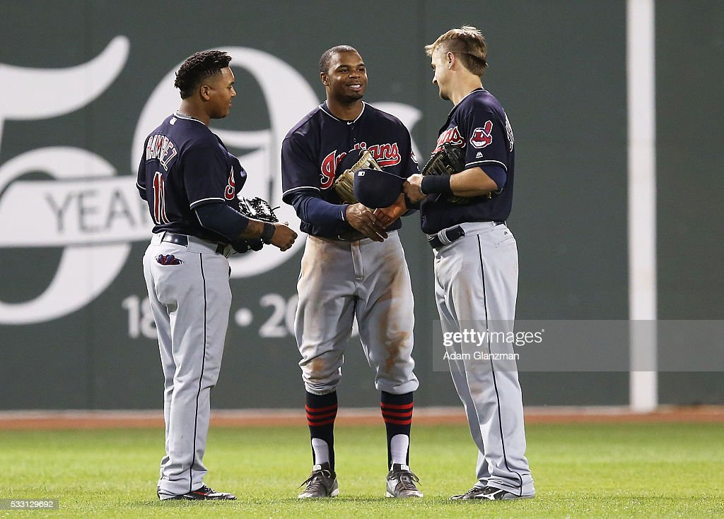 The Cleveland Indians celebrate after their victory over the Boston Red Sox at Fenway Park on May 20, 2016 in Boston, Massachusetts.