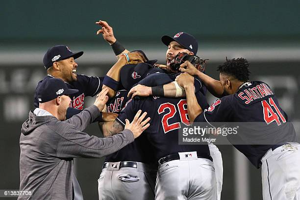 The Cleveland Indians celebrate defeating the Boston Red Sox 43 in game three of the American League Divison Series to advance to the American League...