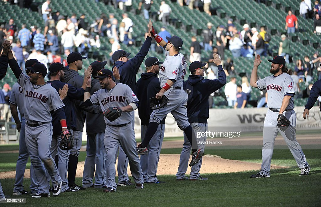 The Cleveland Indians celebrate their win against the Chicago White Sox on September 13, 2013 at U.S. Cellular Field in Chicago, Illinois. The Cleveland Indians defeated the Chicago White Sox 3-1.