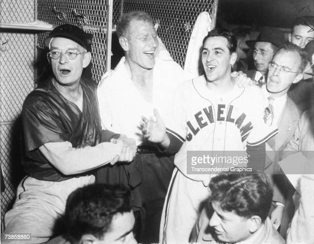 BOSTON OCTOBER 11 1948 The Cleveland Indians celebrate their World Series win over the Braves in Boston on October 11 1948 are coach Bill McKechnie...