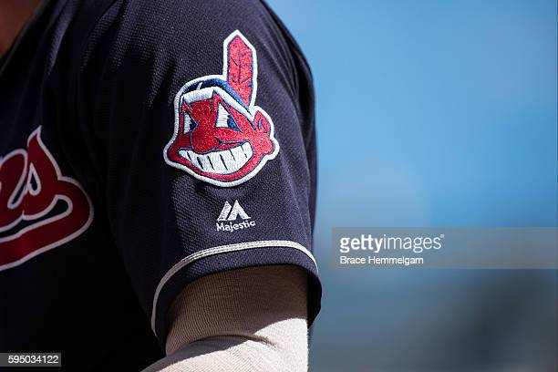 The Cleveland Indians logo on a sleeve patch of the uniform against the Minnesota Twins on July 17 2016 at Target Field in Minneapolis Minnesota The...
