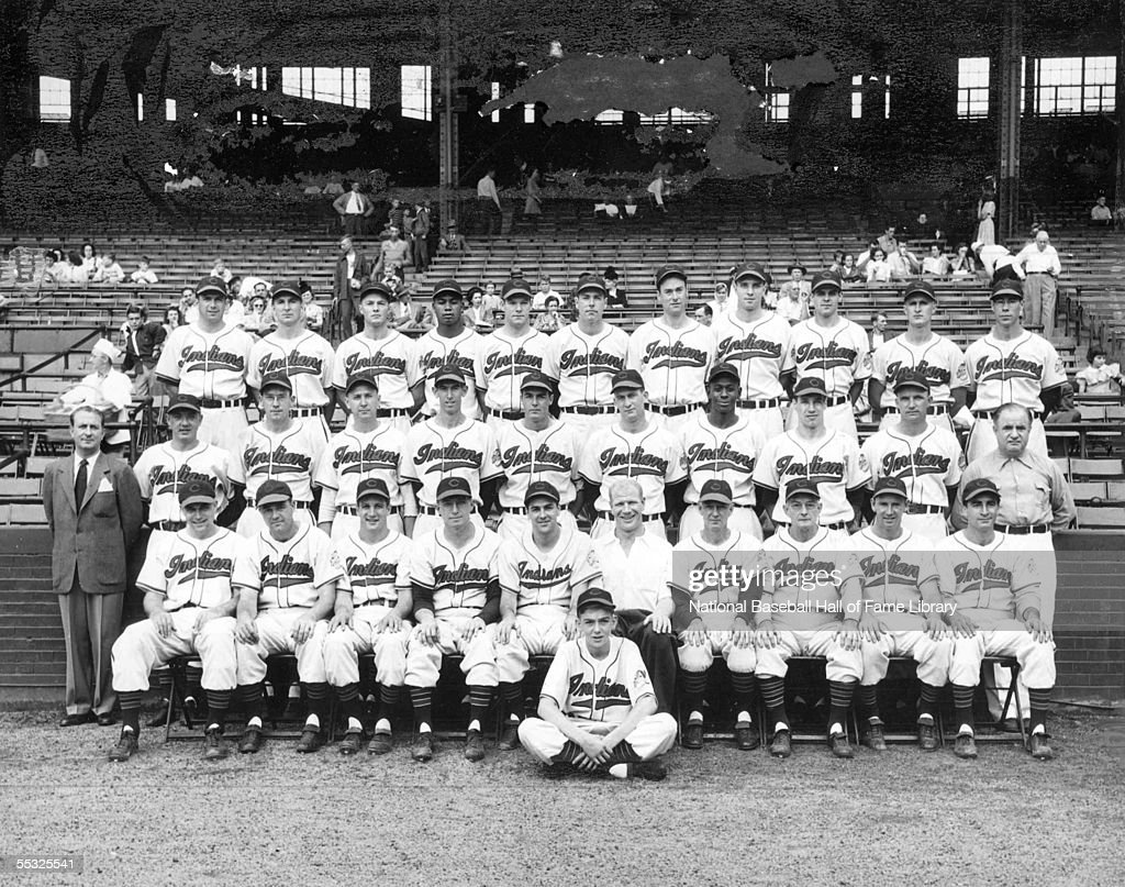 The Cleveland Indians pose for a team photo at Cleveland Municipal Stadium in Cleveland, Ohio. The Indians went on that year to win the 1948 World Series. Larry Doby, the first African-American recruited to the American League played a significant role in the season. The team