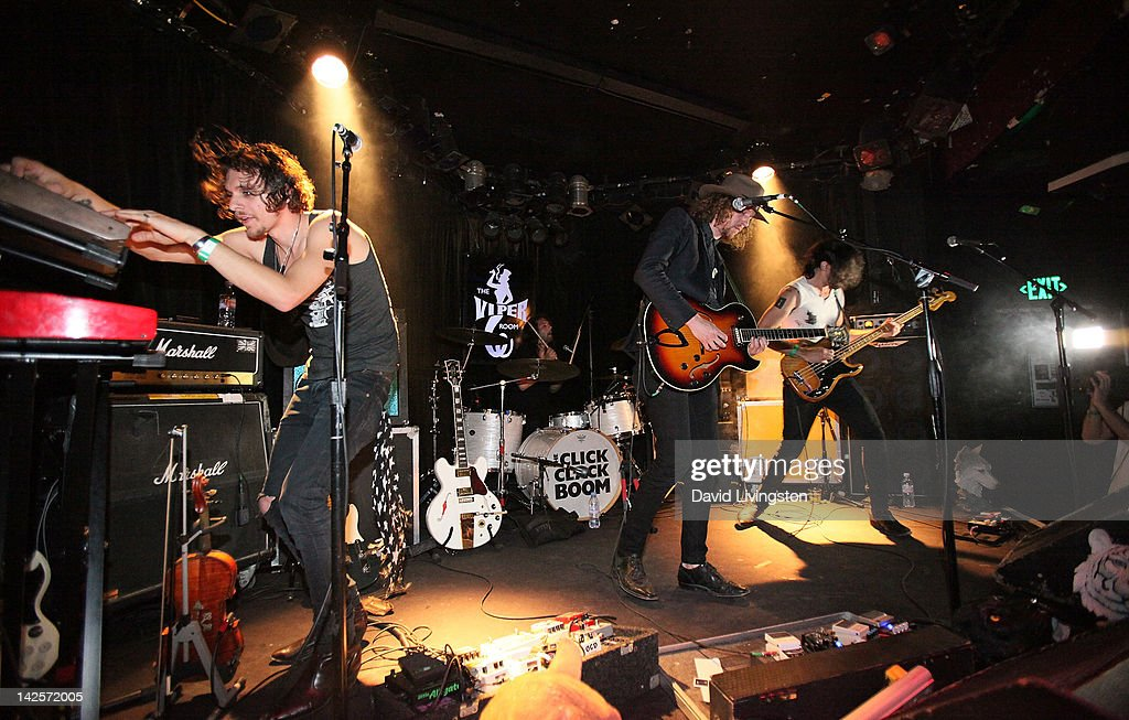 The Click Clack Boom performs on stage at the Viper Room on April 7, 2012 in West Hollywood, California.