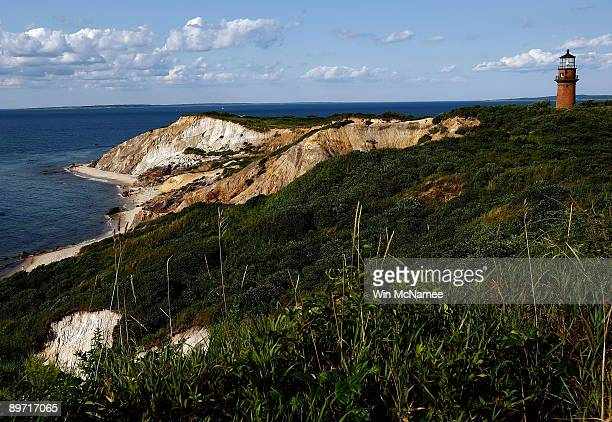 The cliffs and lighthouse at Gay Head are seenn August 7 2009 in Aquinnah Massachusetts on the island of Martha's Vineyard President Barack Obama and...