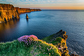 Ireland Irish world famous tourist attraction in County Clare. The Cliffs of Moher West coast of Ireland. Epic Irish Landscape and Seascape along the wild atlantic way. Beautiful scenic nature from Ir