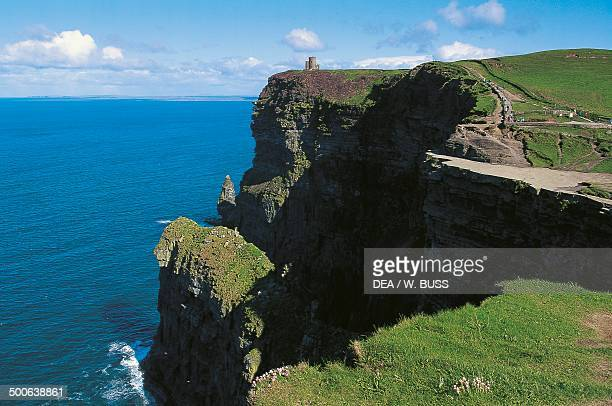 The Cliffs of Moher with O'Brien's tower in the centre County Clare Ireland
