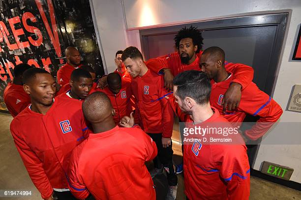 The LA Clippers huddle up before the game against the Utah Jazz on October 30 2016 at STAPLES Center in Los Angeles California NOTE TO USER User...
