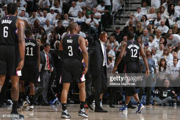 The LA Clippers huddle up during the game against the Utah Jazz during Game Three of the Western Conference Quarterfinals of the 2017 NBA Playoffs on...