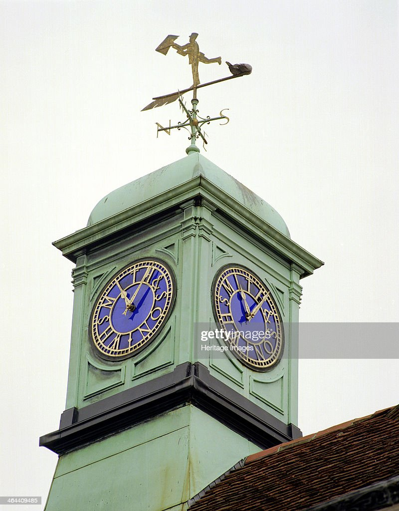 The clock and cupola which crown the former Assembly Rooms on the corner of High Street and New Canal Salisbury Wiltshire 2000 The building is...