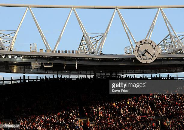 The Clock End Clock during the Barclays Premier League match between Arsenal and Crystal Palace at Emirates Stadium on August 16 2014 in London...