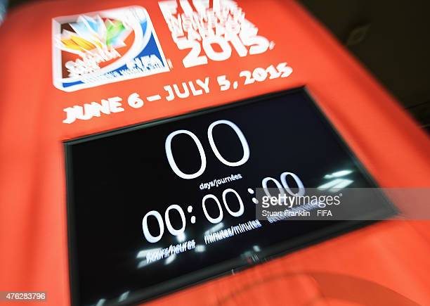 The clock raches zero to mark the start of the FIFA Women's World Cup at the Olympic stadium on June 7 2015 in Montreal Canada