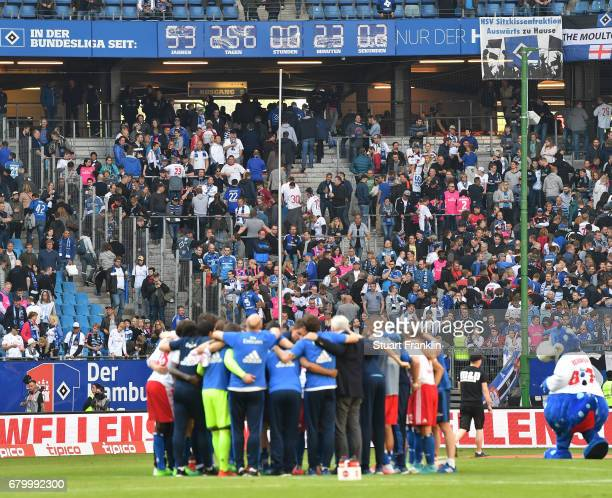 The clock shows how long Hamburger SV have been in the Bundesliga during the Bundesliga match between Hamburger SV and 1 FSV Mainz 05 at...